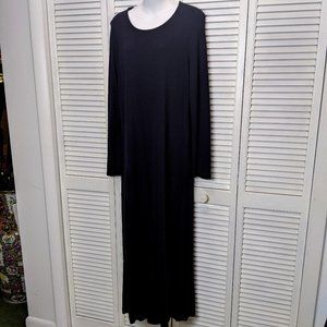 Vintage 80's Womens Black Knit Maxi Dress Size 16